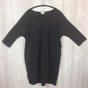 Umgee Striped Shift Dress Black/Gray Sz M